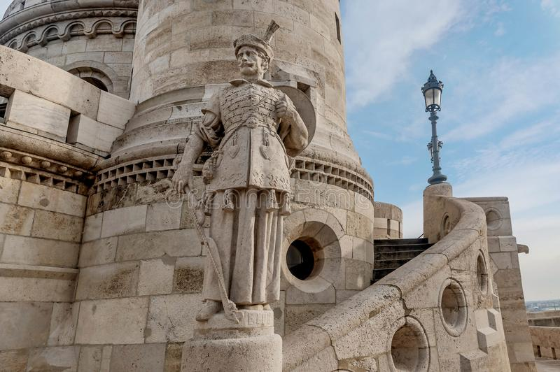 Statue at Fisherman Bastion, Buda Castle in Budapest, Hungary stock images