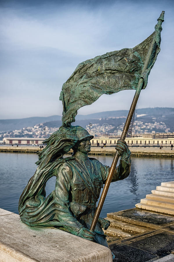 Statue with the flag, Trieste Italy. Sharpshooter, Military First World War statue with the flag, Trieste Italy stock photo