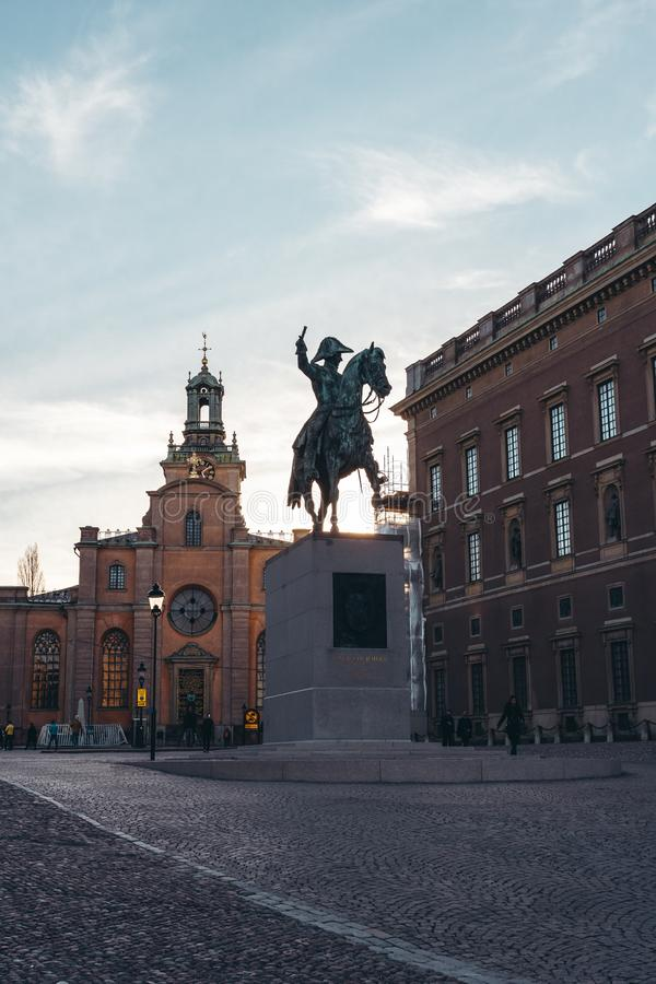 Statue of former king Karl XIV Johan outside the Royal Palace in Stockholm Sweden stock image