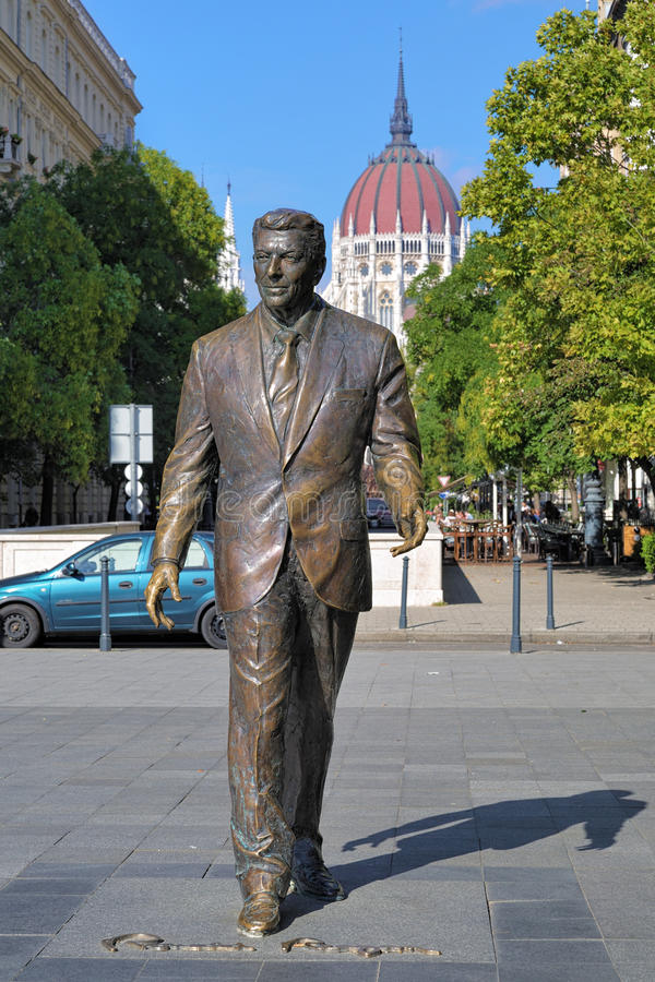 Statue of the former U.S. President Ronald Reagan in Budapest stock photo