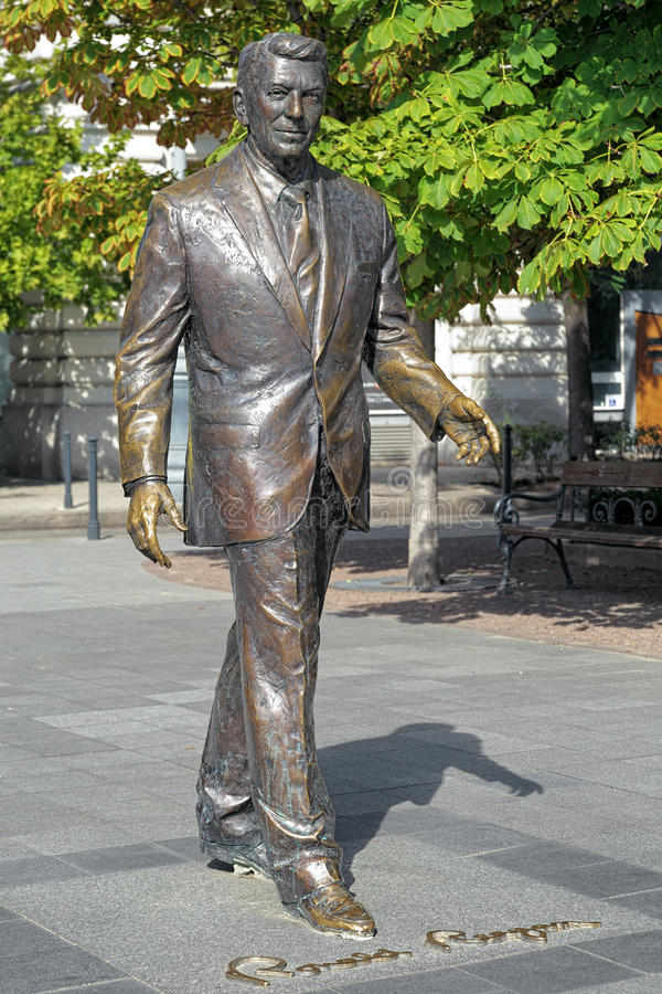 Statue of the former U.S. President Ronald Reagan in Budapest. Statue of the former U.S. President Ronald Reagan on the Freedom square of Budapest, Hungary. The royalty free stock photo