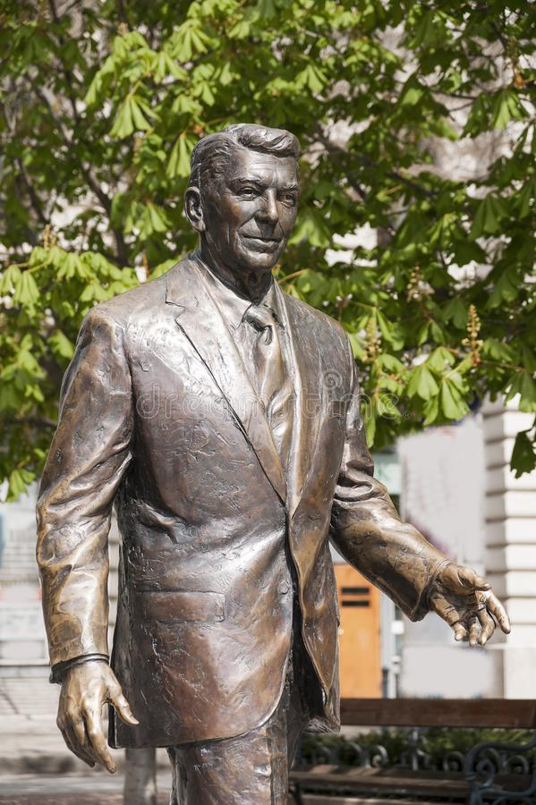 Statue of the former U.S. President Ronald Reagan. BUDAPEST, HUNGARY - APRIL 19, 2015: Statue of the former U.S. President Ronald Reagan on the background of royalty free stock photos