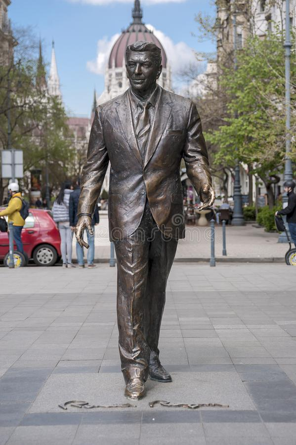Statue of the former U.S. President Ronald Reagan. BUDAPEST, HUNGARY - APRIL 19, 2015: Statue of the former U.S. President Ronald Reagan on the background of royalty free stock photo