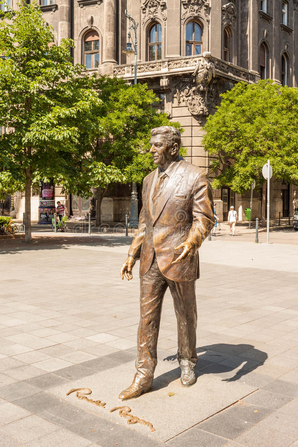 Statue of former USA president Ronald Reagan on Liberty Square i. Budapest, Hungary - June 5, 2017: A statue of 40th USA president Ronald Reagan sculpted by stock photo