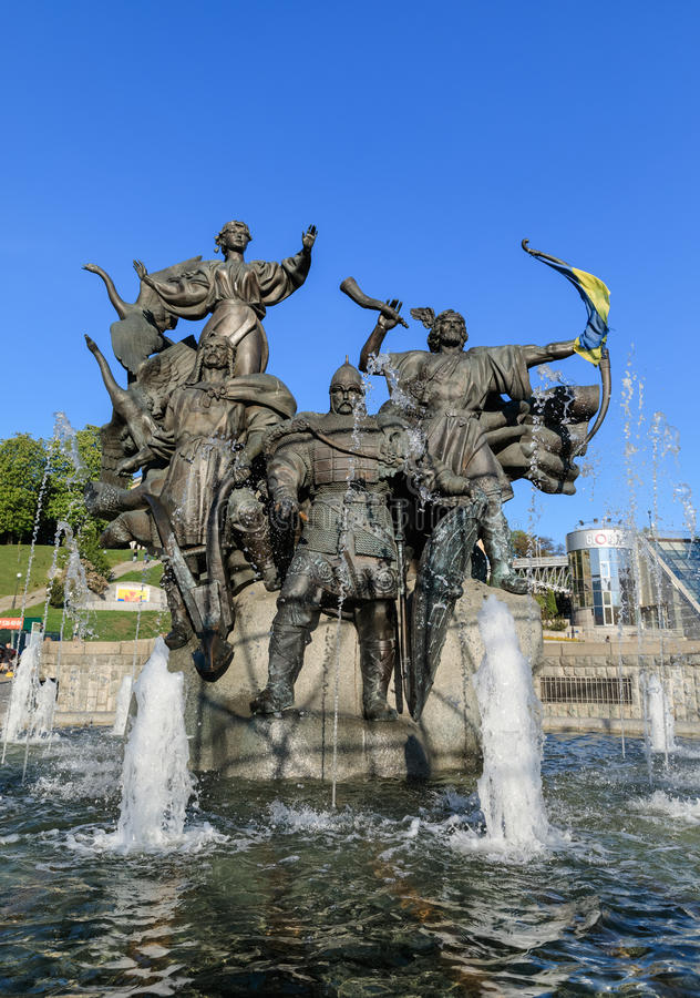 Statue of Founders of Kiev at Independence Square royalty free stock photo