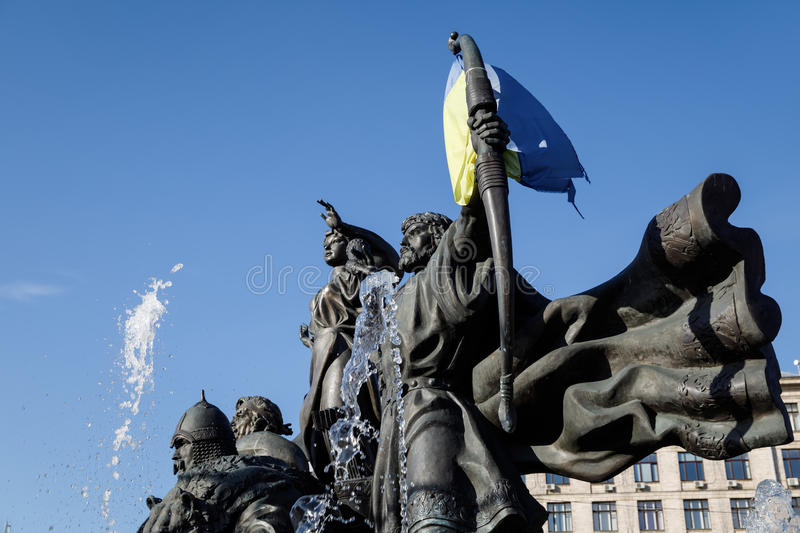 Statue of Founders of Kiev at Independence Square stock image