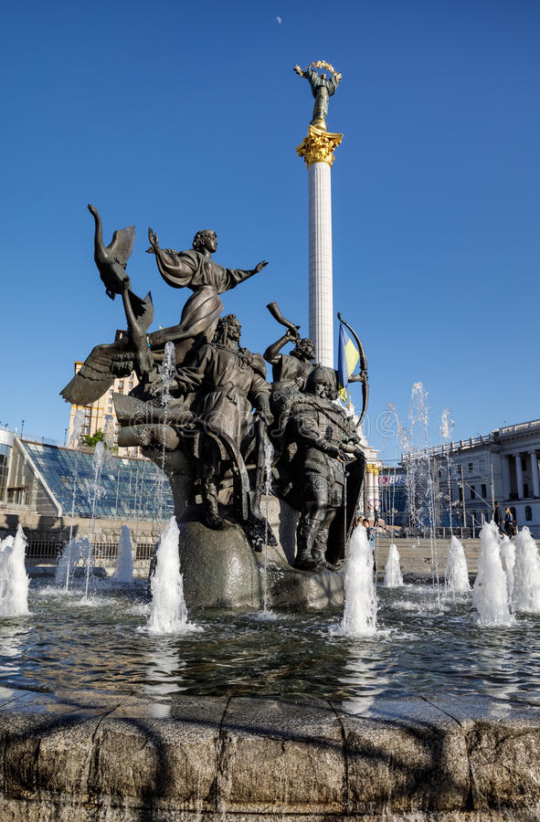 Statue of Founders of Kiev at Independence Square stock images