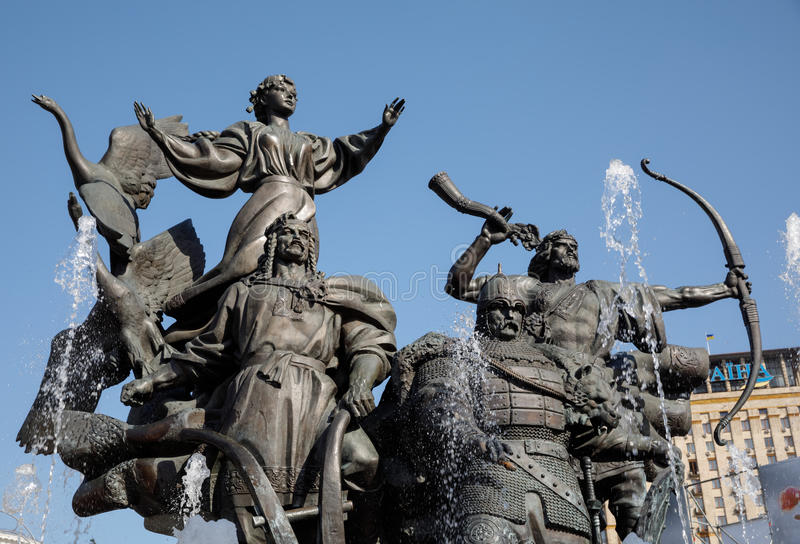Statue of Founders of Kiev at Independence Square stock photography