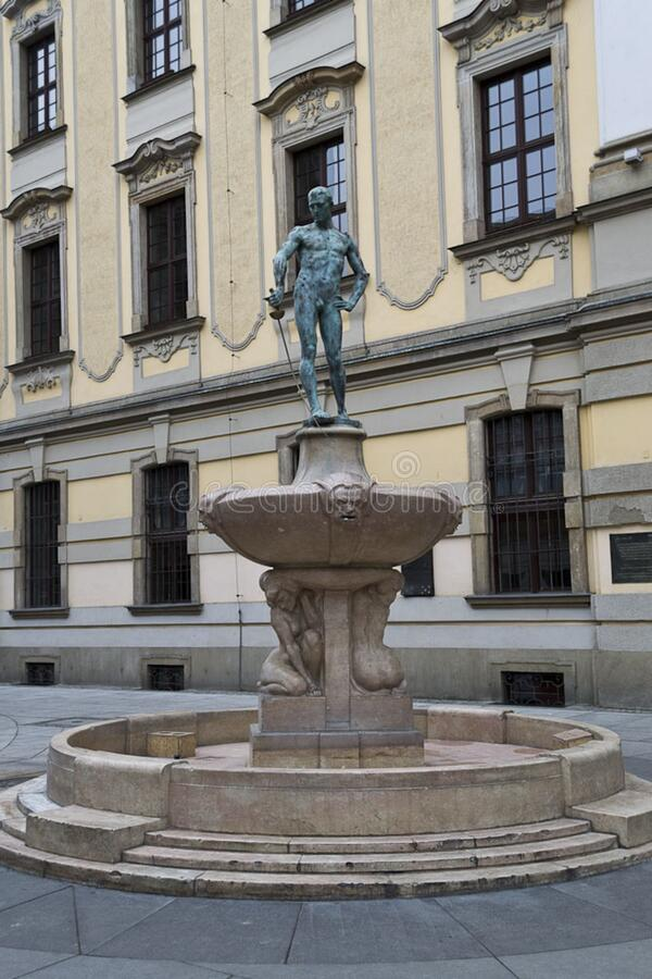 Statue on fountain, Wroclaw, Poland stock photo