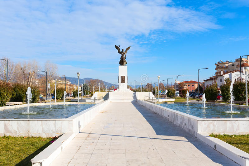 Statue and fountains in the center of Drama town, Greece royalty free stock images
