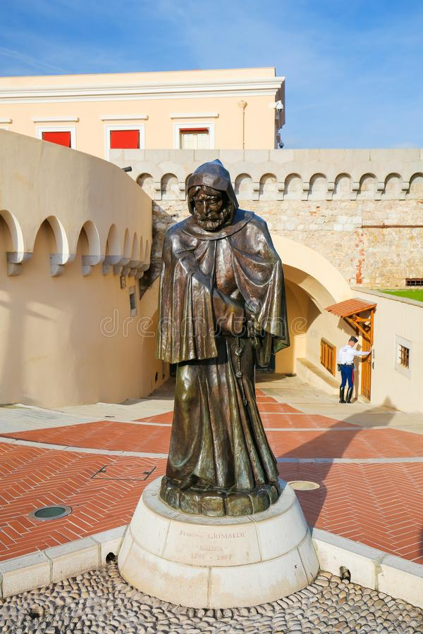 Statue of Francesco Grimaldi in Monaco-Ville. Statue of Francesco Grimaldi, Genoese leader of the Guelphs who captured the Rock of Monaco in 1297, at the Prince' royalty free stock photography