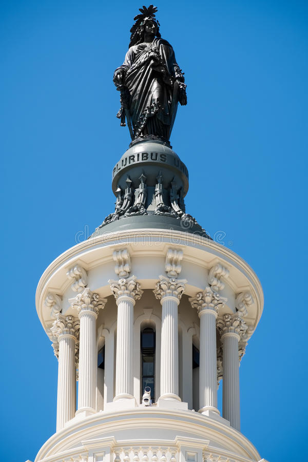 The Statue of Freedom on top of the US Capitol building in Washi royalty free stock photo