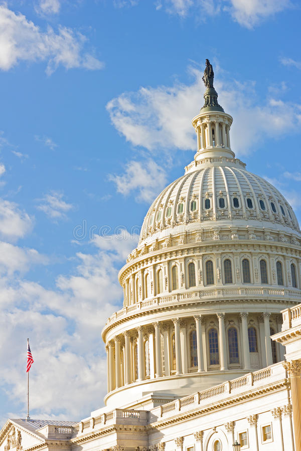 Statue of Freedom on top of US Capitol Building in Washington DC, USA. stock images