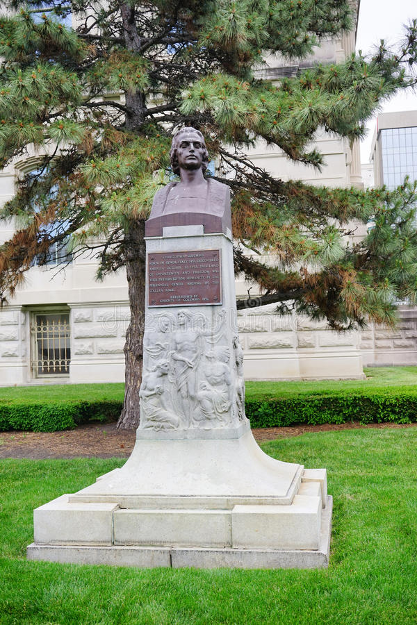 A statue in front of Indiana government center stock photo