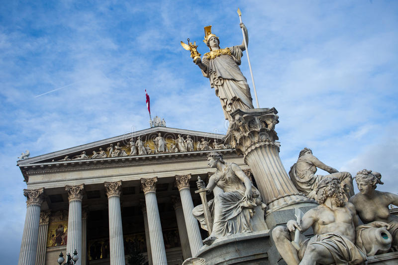 Statue in front of the Parliament in Vienna stock photos