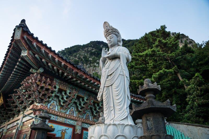 Statue in front of Sanbanggulsa temple and Sanbang mountain, Sanbang-ro, Jeju Island, South Korea royalty free stock photography