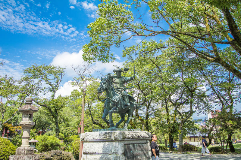 Statue of Fujisan Sengen Shrine was one of the largest and grand. Est shrines in the city of Fujinomiya in Shizuoka Prefecture, Japan royalty free stock image