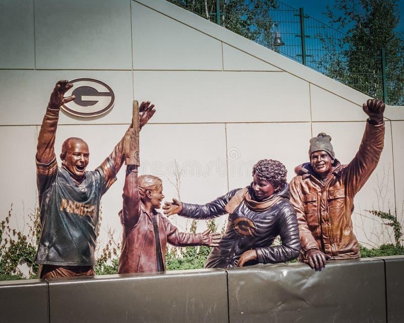 Statue fuori del campo di Lambeau fotografia stock