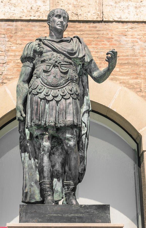 Statue of Gaius Julius Caesar in Rimini, Italy stock photography
