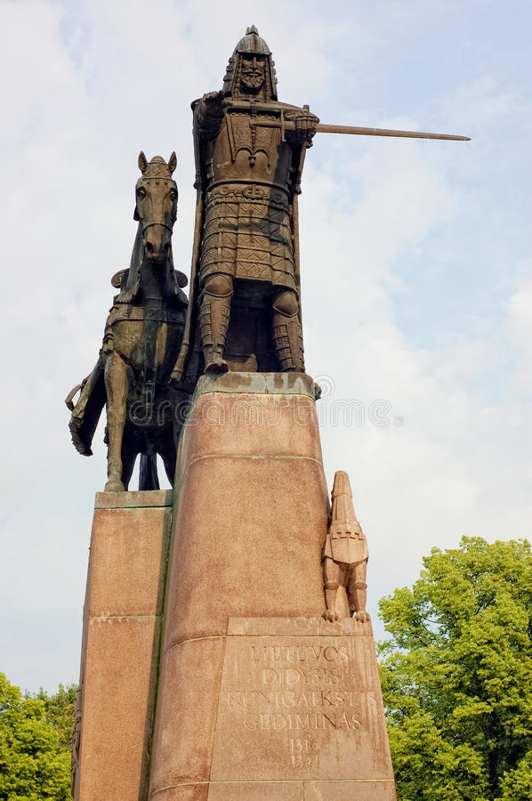 Statue of Gediminas, the ruler of Lithuania. Statue of Gediminas, the ruler of the Grand Duchy of Lithuania. (by Vytautas Kasuba, Cathedral square, Vilnius royalty free stock image