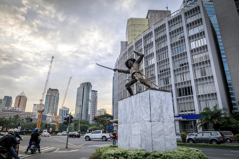 Statue of General Pio Del Pilar at Makati Ave. On a small traffic island along Makati Avenue in Manila, a bronze statue of Philippine independence hero Pio Del stock photography