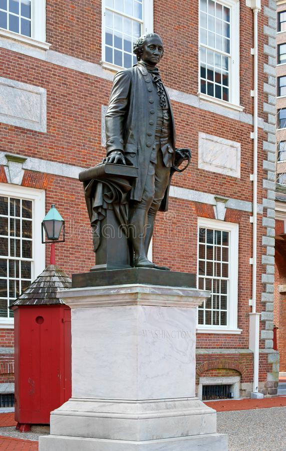 Statue of George Washington 1869 lives on as bronze replica in front of Independence Hall, Philadelphia royalty free stock photo