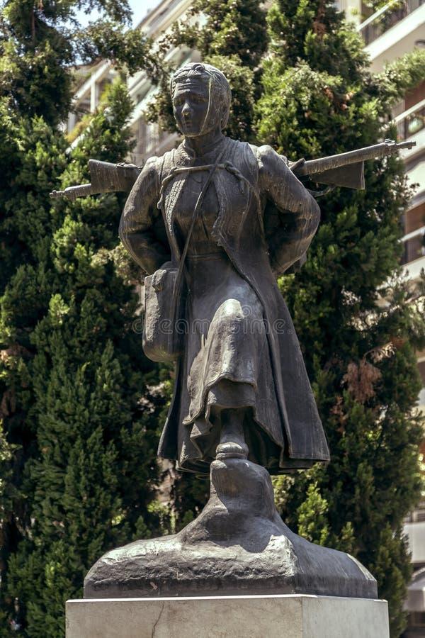 Statue of Ginaika Tis Pindou, a national hero in Thessaloniki. Thessaloniki, Greece - July 23, 2018: Statue of Ginaika Tis Pindou, a national hero in stock photos