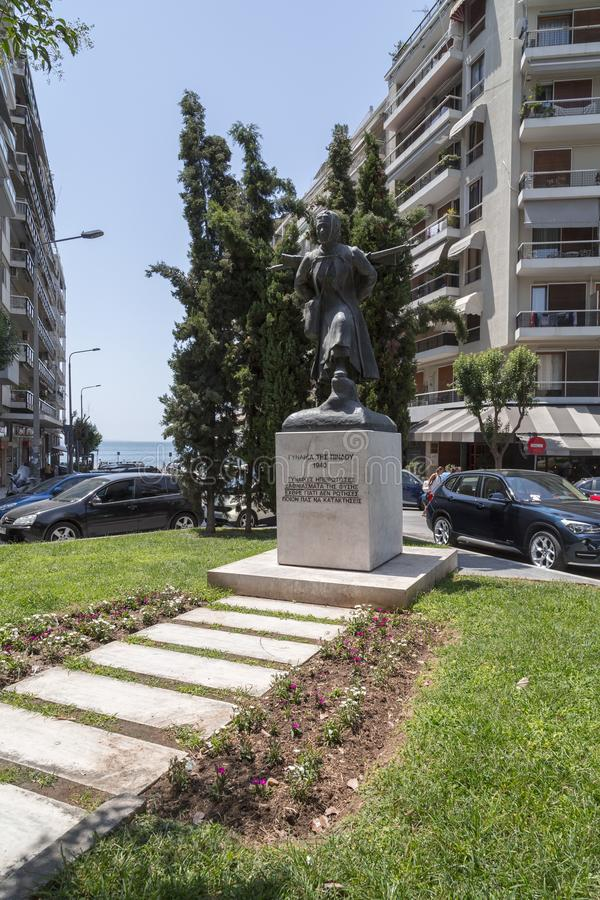 Statue of Ginaika Tis Pindou, a national hero in Thessaloniki. Thessaloniki, Greece - July 23, 2018: Statue of Ginaika Tis Pindou, a national hero in royalty free stock photo