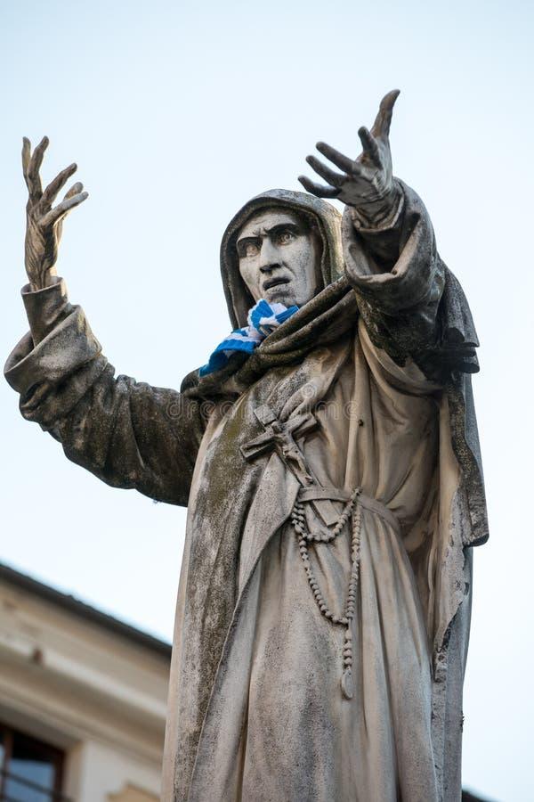 Statue of Girolamo Savonarola in Ferrara in Emilia-Romagna. Italy stock image