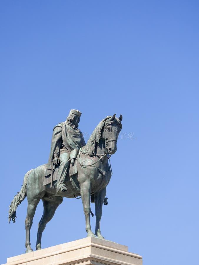 Statue of Giuseppe Garibaldi. Monument to Giuseppe Garibaldi, to the Gianicolo in Rome stock image
