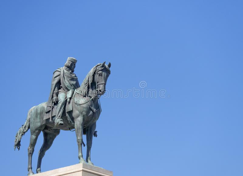 Statue of Giuseppe Garibaldi. Monument to Giuseppe Garibaldi, to the Gianicolo in Rome stock photo