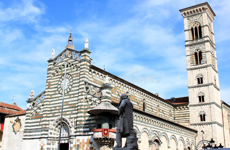 Statue of Giuseppe Mazzoni near Duomo, Prato stock photos