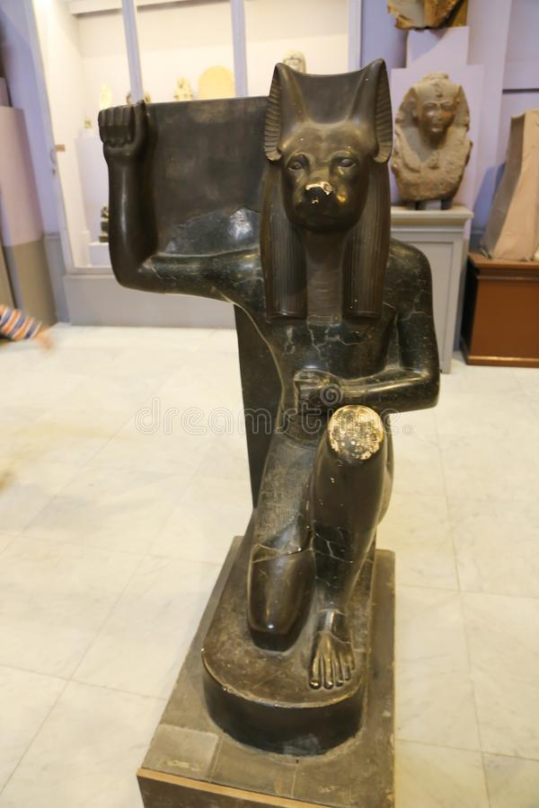 Statue of God Anubis inside Cairo Museum. Cairo, Egypt Jan. 2018 The Museum of Egyptian Antiquities, known commonly as the Egyptian Museum or Museum of Cairo. It royalty free stock images