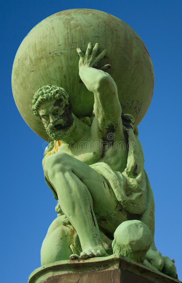 Statue of the god Atlas at Portmeirion royalty free stock photography