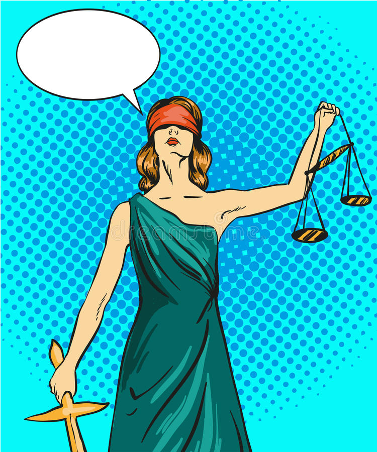 Statue god of justice Themis. Femida with balance and sword. Vector illustration in pop art comic retro style. Law legal stock illustration