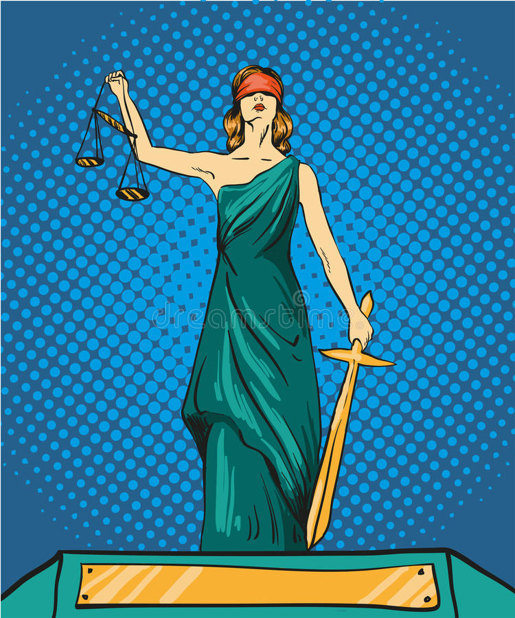 Statue god of justice Themis. Femida with balance and sword. Vector illustration in pop art comic retro style. Law legal. Statue of god of justice Themis. Femida vector illustration