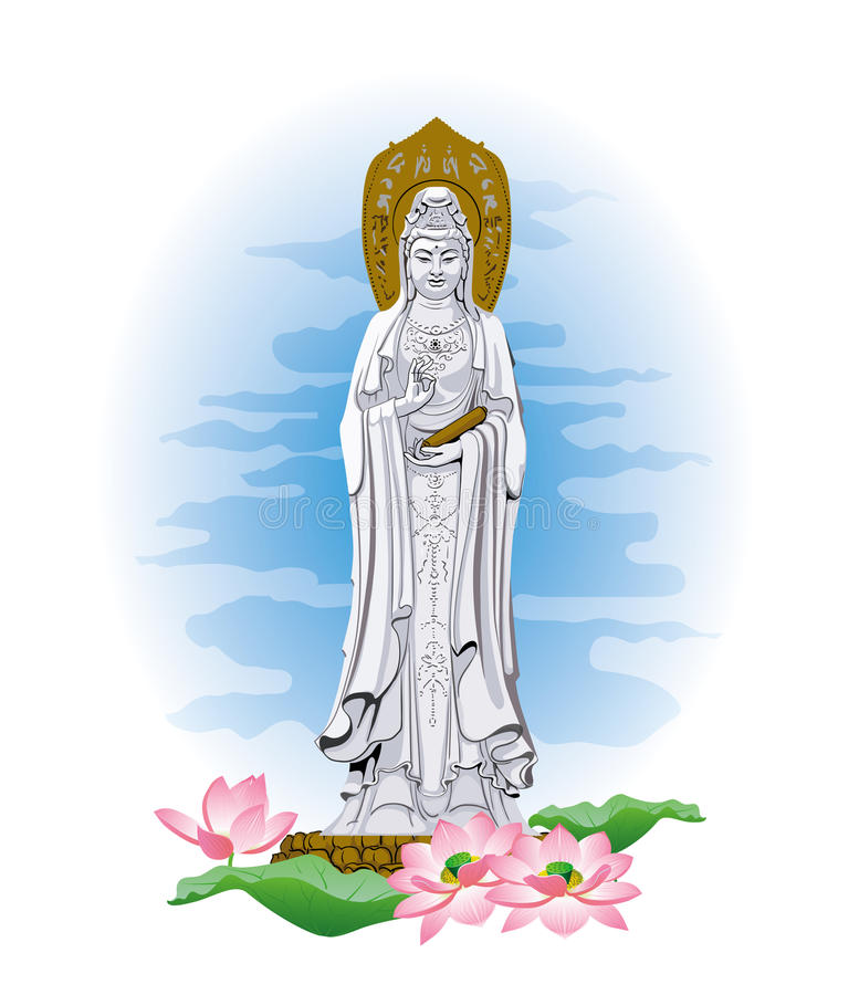 The statue of the goddess Bodhisattva Guanine. Vector image of statue of the goddess Guanine bodhisattva vector illustration
