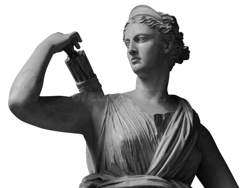 Classic white marble statue Diana of Versailles. Statue of Goddess Diana the Huntress. Marble sculpture in art garden. Isolated on white background. Beautiful stock photo