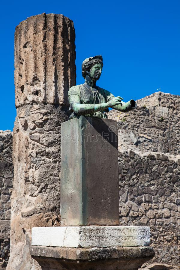 Statue of the goddess Diana in the temple of Apollo in the ancient Pompeii royalty free stock photography