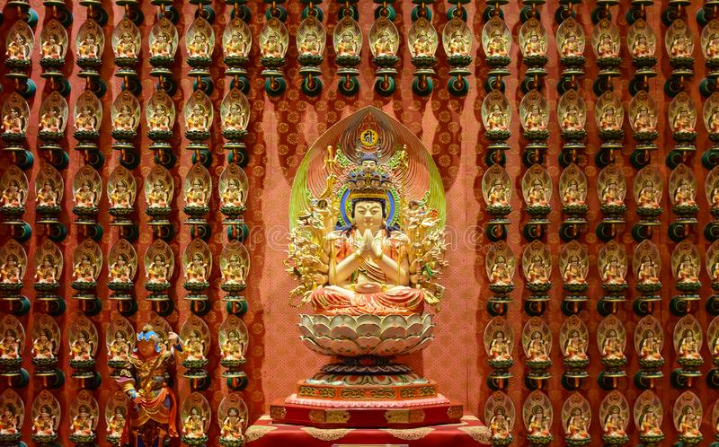 The statue of Godness in Chinese Buddha Tooth Relic Temple,. Singapore stock photography