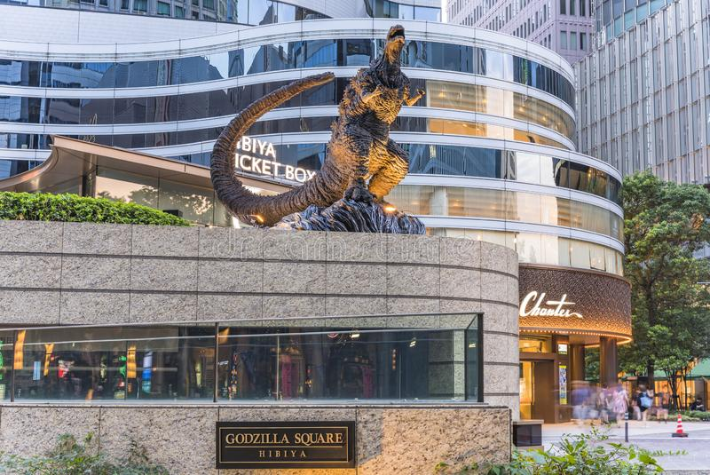 Statue of the Godzilla radioactive monster in the middle of the Hibiya Godzilla Square opens on March 22, 2018 to celebrate the. Tokyo, Japan - August 25,2019 royalty free stock image