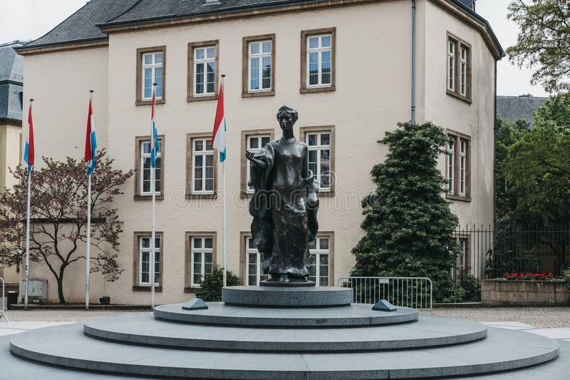 Statue of Grand Duchess Charlotte at the Place Clairefontaine in Luxembourg City stock photos