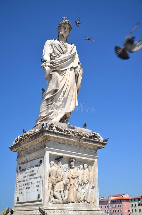 The statue of Grand Duke Leopold II on Piazza della Republica in Livorno, Italy