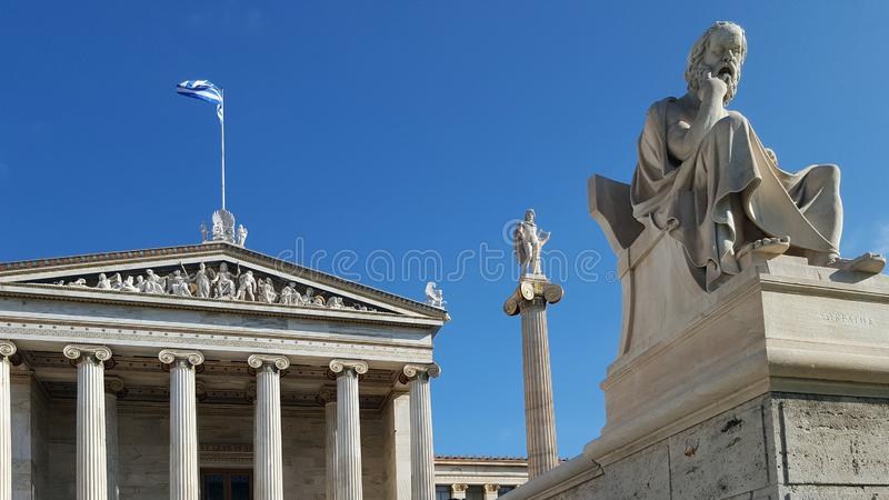 Statue of the great Greek philosopher Socrates in front of the Academy of Athens royalty free stock photography