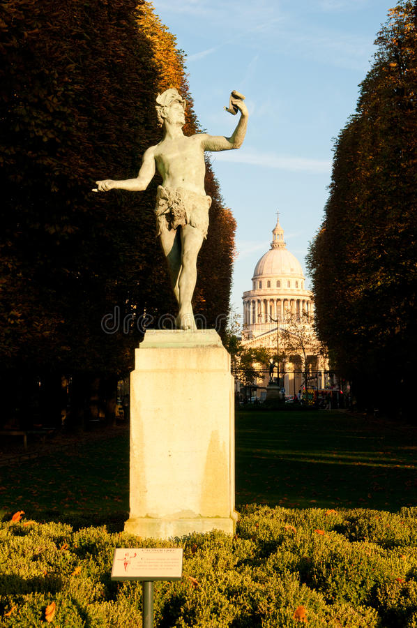 Statue The Greek Actor in Luxembourg garden in Pa. Statue L'acteur grec (The Greek Actor) in Jardin du Luxembourg (Luxembourg garden) in Paris. The Pantheon is stock photo