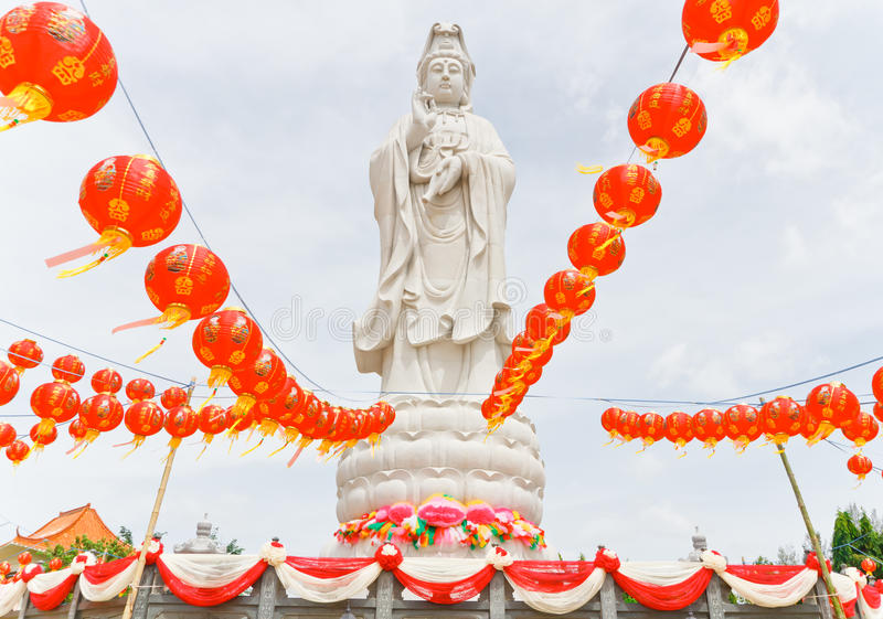 Statue of Guan im.(What about Religion, in Thailand, it is public). stock images