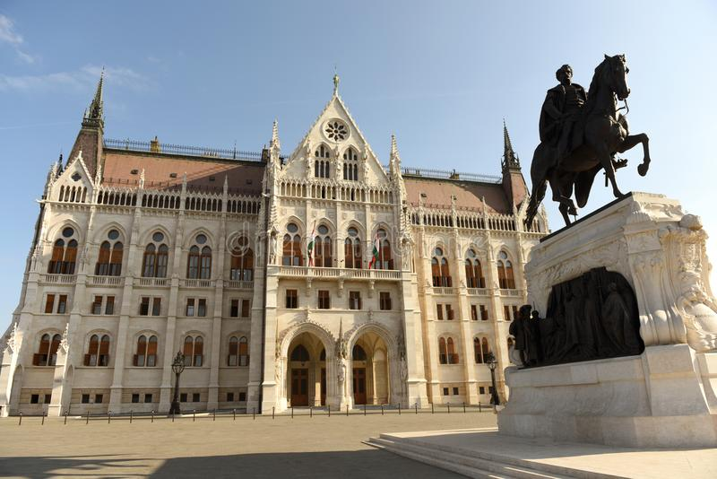 Statue of Gyula Andrassy and Parliament Building in Budapest, Hungari stock photos