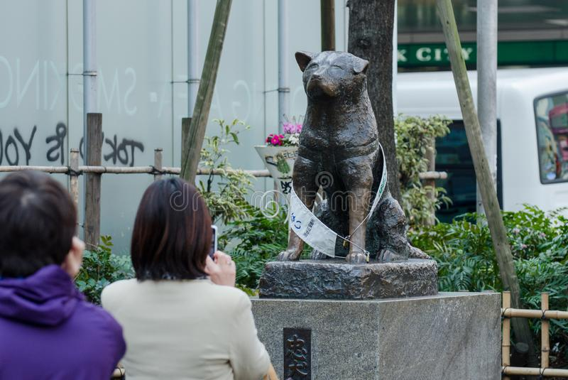 Statue of Hachiko near  the Shibuya crossing stock images