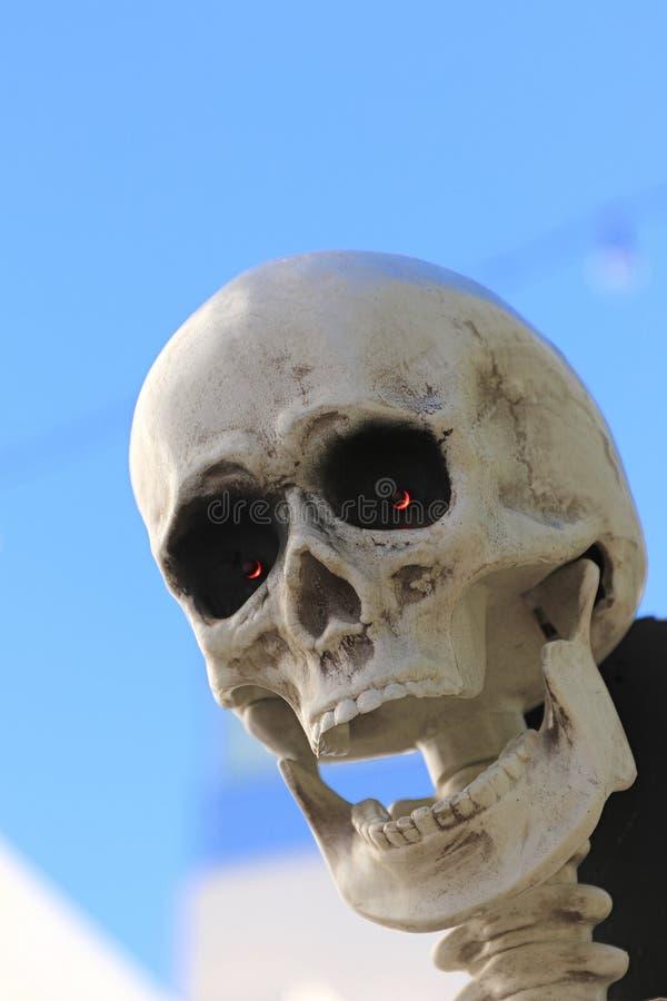 Statue of Halloween skull monster stock image