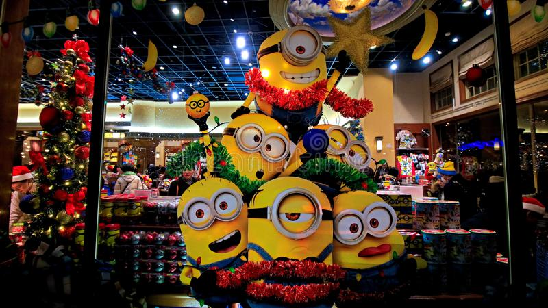 Statue of `HAPPY MINION`, located in Universal Studios Japan royalty free stock images